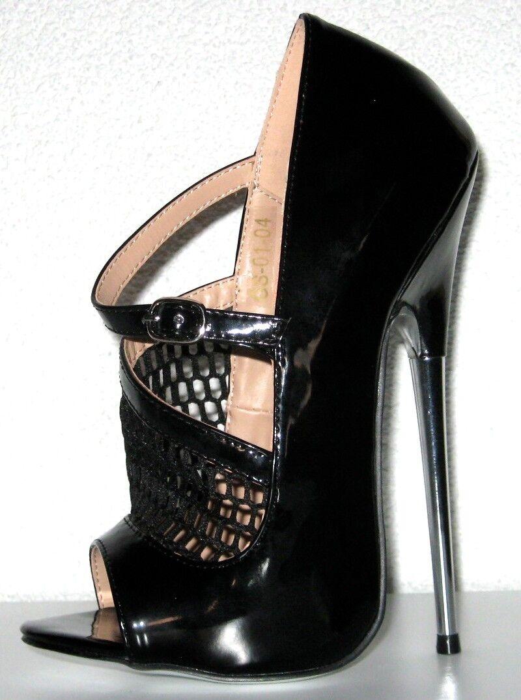 Giaro High Heel Netz Stiletto mit Riemchen G: 46  cm Absatz : 19 cm  schwarz Lack caf2e2