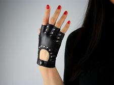 Real Leather Fingerless Short Gloves Black White Red Stud Rivet Lambskin Bicycle