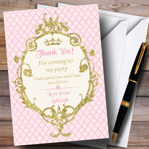 Gold /& Pink Crown Princess Party Thank You Cards