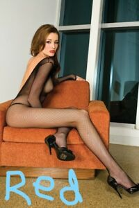 Red-Long-Sleeves-Fishnet-Bodystocking-V-Back-Open-Crotch-Plus-Size-1599Q