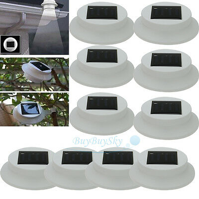 10x Outdoor Solar Powered LED Wall Path Landscape Mount Garden Fence Light Lamp