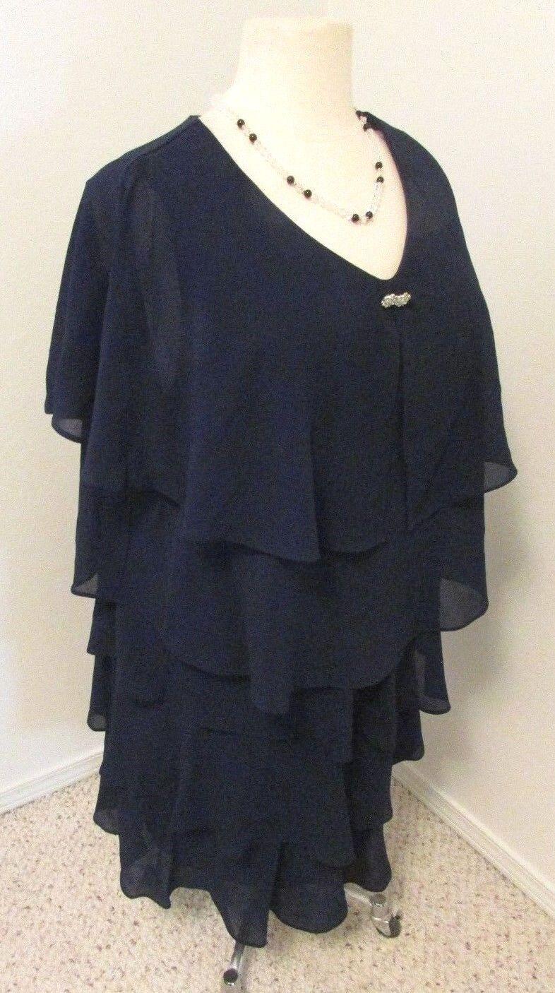Karina Layered Navy Sp Occ Dress Sz 24W       103
