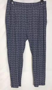 M-amp-S-Azul-Marino-Pantalones-de-pierna-ahusada-impresion-estiramiento-jersey-3-longitudes-de-16-24