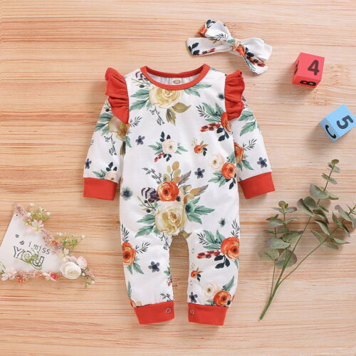 Newborn Baby Girl Clothes Floral Ruffle Jumpsuit Romper Bodysuit Headband Outfit