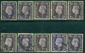 GREAT BRITAIN SG-467, SCOTT # 240, USED, 10 STAMPS, GREAT PRICE!