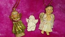 3x Engel Figur Setzkasten Miniatur Weihnachtsbaum Christbaum Schmuck Anhänger