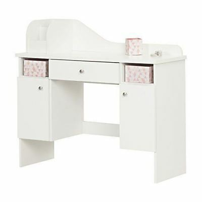 South Shore Furniture 10081 Vito Pure White Makeup Desk with Drawer