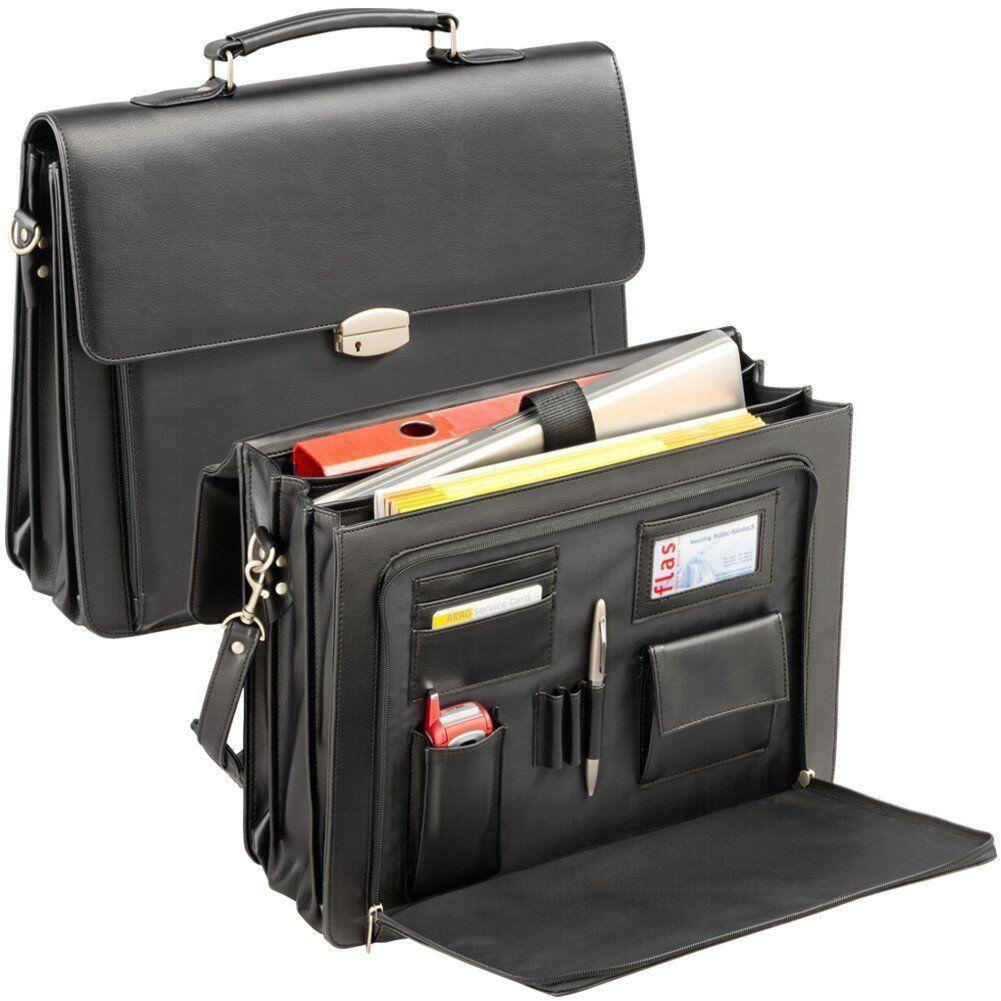 AKTENTASCHE Businesstasche Echt Leder Schwarz Tasche Mit Notebookfach NEU - 77,50 €
