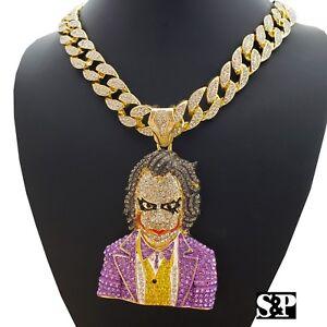 Hip-Hop-Large-JOKER-Pendant-amp-18-034-Full-Iced-Miami-Cuban-Choker-Chain-Necklace