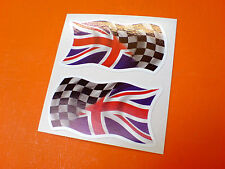 CHEQUERED UNION JACK GB UK Car Van Motorcycle Stickers Decals 2 off 50mm