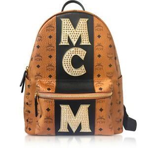 38da210384fcf4 MCM Stark Stripe Stud Large Backpack Cognac Visetos Made In Italy ...