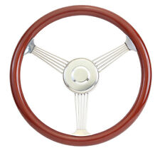 Mahogany Banjo Steering Wheel with Stainless Steel Spokes and Horn Button 15""