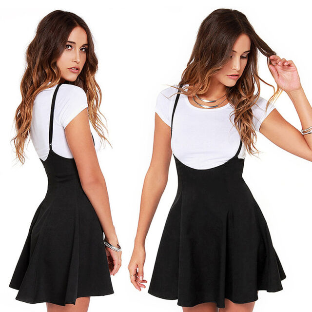 New UK 8-20 Fashion Women Strap High Waist Skirt Flared A Line Zipper Mini Dress