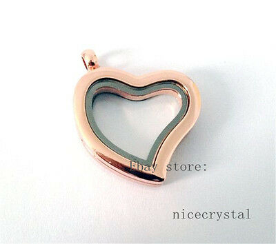 1pcs Rose Gold Plain Heart Locket fit DIY floating charms locket JK01-3