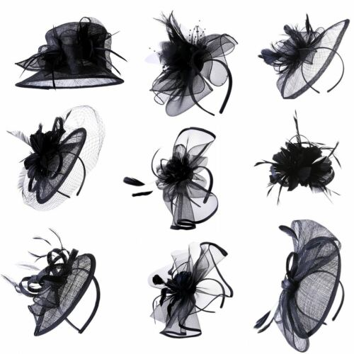 Black Fascinator Wedding Race Royal Ascot Head Piece on Headband /& Clip