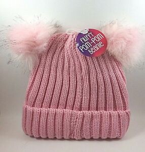 5fd02b6cf64 Fluffy Pink Pompom Ball Knitted Ski Hat Winter Warm Blend Beanie Cap ...