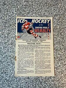 Wembley Empire Pool - Wembley Lions - Ice Hockey Programme 01/10/1955