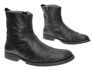 COLE-HAAN-Combat-Boots-9-5-Mens-Black-Leather-Motorcycle-Ankle-Boots-Side-Zip