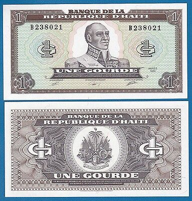Haiti Combine Free! Coins & Paper Money Haiti 1 Gourde 1989 P 253 Unc Low Shipping