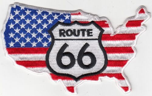 "ROUTE 66 Embroidered Patches 3/""x5/"" iron-on 2 Pcs USA Flag in Map"
