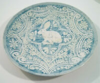 Pottery Barn Graphic Bunny Salad Dessert Plate - Turquoise - Easter Spring