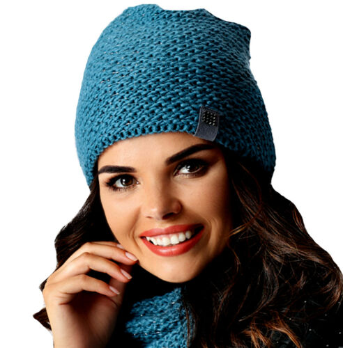 AJS Damen Winterset Wintermütze Strickmütze Beanie Mütze Loopschal mit Wolle