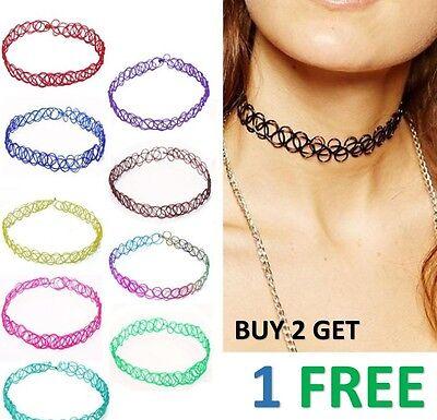 3xVintage Hippy Stretch Tattoo Choker Necklace Bracelet Elastic Chocker Henna