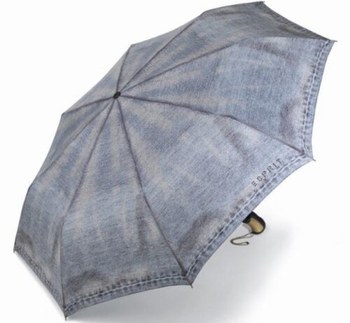Taschenschirm Teleskopschirm Mini Schirm NEU Jeans-Design ESPRIT Regenschirm