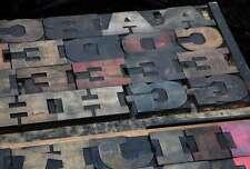 Antique Rare Alphabet 56pcs 453 Wood Printing Blocks Letterpress Wooden Type