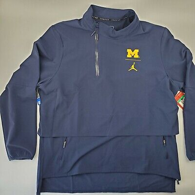 Nike Michigan Wolverines Mens Crew Sweatshirt Zipper Pocket Grey Blue