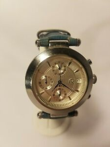 Guess-Men-039-s-Chronograph-Watch-GC7000-Stainless-Green-Leather-Band-New-Battery
