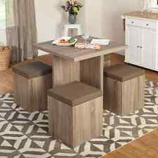 Square Dining Table Set 4 Seats Ottoman Storage Chairs Small Kitchen