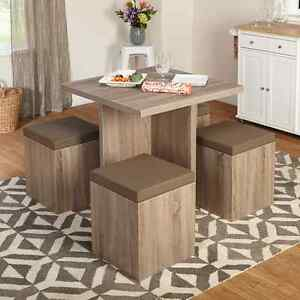 Image Is Loading Dining Table 4 Stools Ottoman E Saver Storage