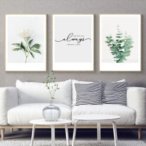 3 Piece Canvas Prints Romantic Love Plants Life Quotes Art Wall Decor Unframed Ebay