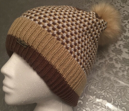 Warm Winter Ladies Woolly Knitted Lined Beanie Hat Pom Pom 4 Colours UK SELLER