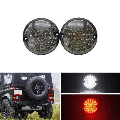 Smoked 95mm Led Round Rear Fog Reverse Lamps For Land Rover Defend Cabrio 2PCS