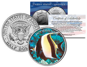 MOORISH-IDOL-FISH-Fish-Series-JFK-Kennedy-Half-Dollar-U-S-Colorized-Coin