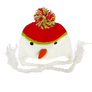 Christmas-Knit-Hat-XMAS-Hat-With-White-Pigtails-Kids-Fancy-Dress-Decor-New
