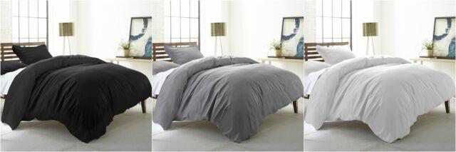 Chezmoi Collection 3-piece Solid Plaid Woven Cotton 300 TC Duvet Cover Set