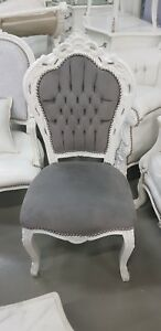 Chairs France Baroque Style Dining Royal Chair White Grey 90st5