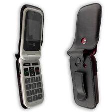 Doro PhoneEasy 410 / 410gsm Handytasche Ledertasche mit Gürtelclip + Sichtfenste