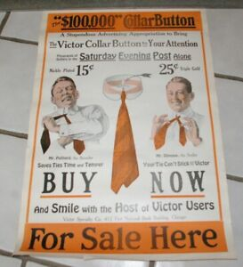Neat-ORIGINAL-1910-era-Victor-Collar-Button-Poster-Early-Clothing-Man-Tying-Tie
