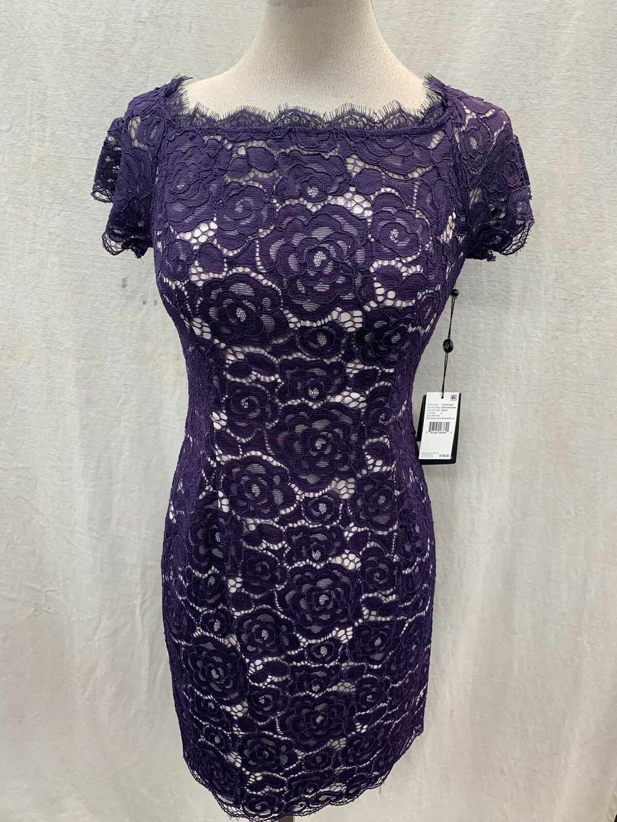 ADRIANNA PAPELL LACE DRESS EGGPLANT SIZE 2 LENGTH 37  RETAIL 159 LINED