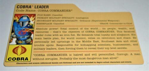 Filecard     2008 Cobra Commander V27 G I JOE File Card I.D