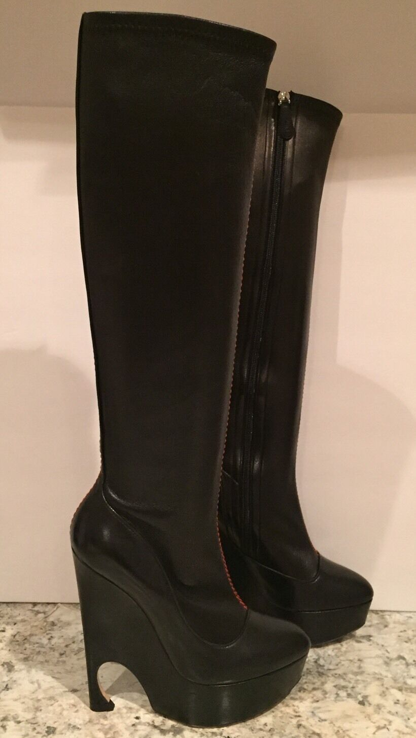 Christian Dior Vision Knee Knee Knee High Thigh Boots Heel Leather Black 36 5.5 NWB  1900 430ce1