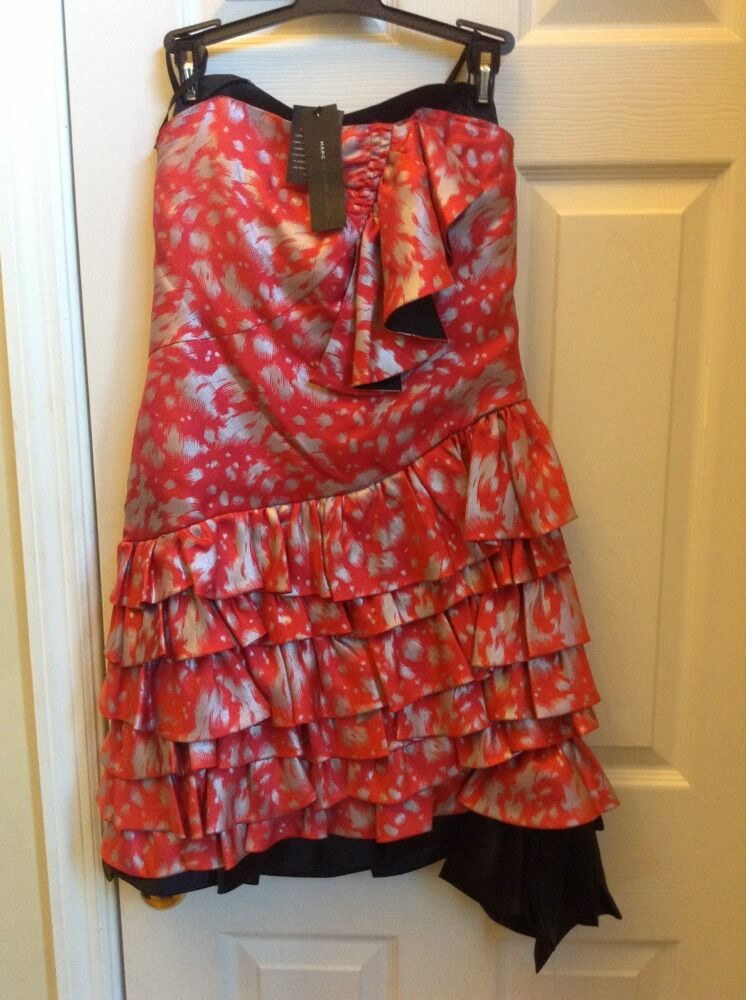 MARC by Marc Jacobs Red Lotus Party Dress sz 4 Silk Ruffle NWT   568