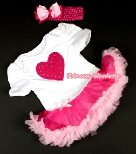 White Infant Baby Dress Bubble Romper Jumpsuit HOT PINK HEART Pinks Skirt NB-12m