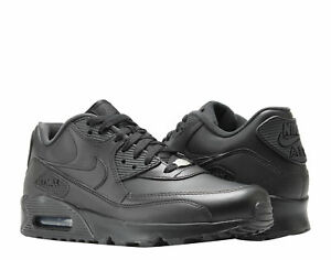 free shipping d0653 e6dcb Details about Nike Air Max 90 Leather Black/Black Men's Running Shoes  302519-001