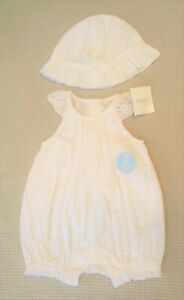 BNWT-NEXT-Baby-Girls-White-Cotton-Romper-All-In-One-amp-Sun-Hat-Outfit-3-6-months