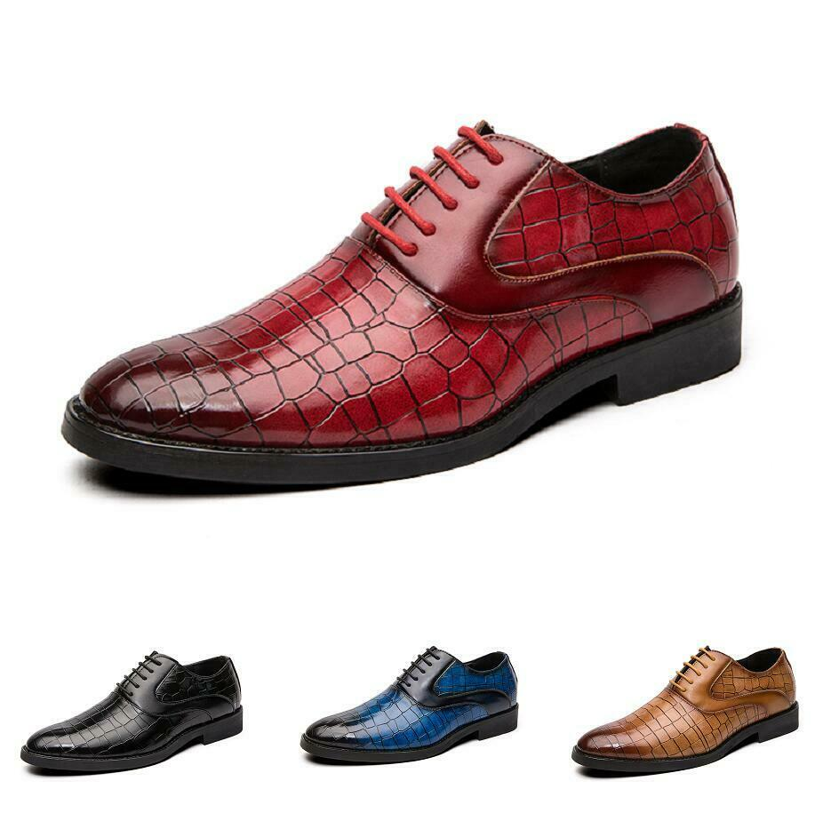 Mens Business Fashion Low-Top Lederschuhe Spitzer Zeh Oxfords Schnür Nachtclub